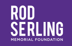Rod Serling Memorial Foundation logo on a purple background